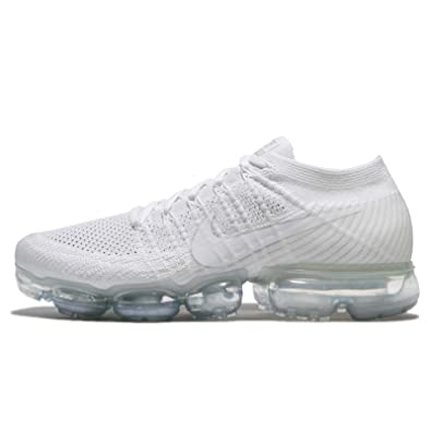 Nike Men's Air Vapormax Flyknit White/Sail/Light Bone/Metallic Silver Knit  Running