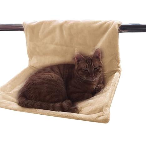 Yuncai Confortable Gatos Cama Colgante Colgar Radiador Gato Hamaca Cama Beige