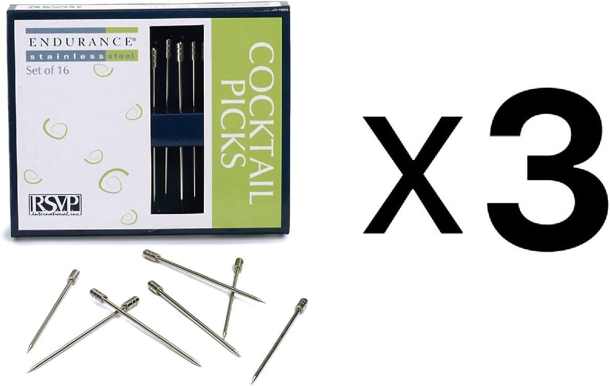 RSVP Endurance Set of 16 Stainless Steel Cocktail and Appetizer Picks