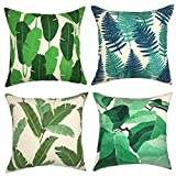 "YOUR SMILE Leaves Series Decorative Throw Pillow Case Cushion Covers Square 18"" x 18"" 45cm x 45cm Set of 4 (Plant)"