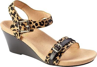 1efad8ce39a5 Image Unavailable. Image not available for. Colour  Vionic Women s Noble  Laurie Backstrap Wedge Sandal Tan Leopard 9 W US