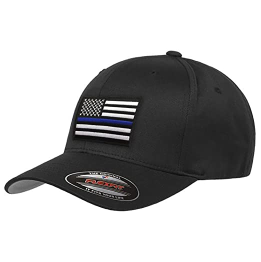 cb86857d91f Flexfit Thin Blue Line Hat at Amazon Men s Clothing store