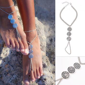 Schmucksets & Mehr Fußkettchen Frauen Einfache Gold Silber Kette Fußkettchen Knöchel Armband Barfuß Sandale Strand Fuß Schmuck