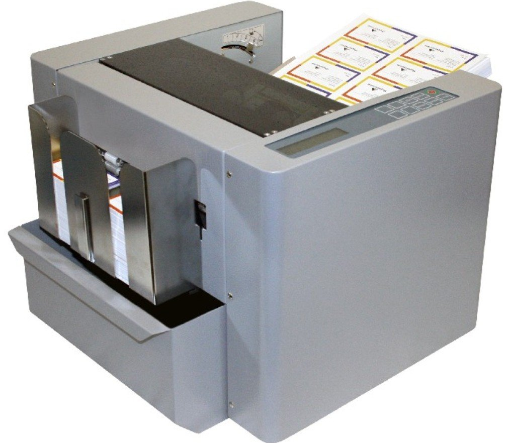 Duplo CC-228 Business Card Cutter, Accepts wide range of paper stocks up to 110 lb. cover/300gsm, Accepts letter or legal-sized documents, Up to 130 business cards per minute, High-capacity feeder with 3 feeding rollers for consistent feeding