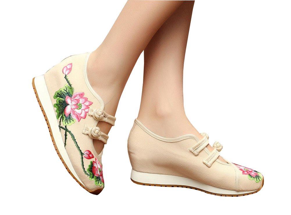 AvaCostume Womens Lotus Embroidery Casual Walking Sneakers Fashion Traveling Shoes B01K6J2RWS 37 M EU|Beige
