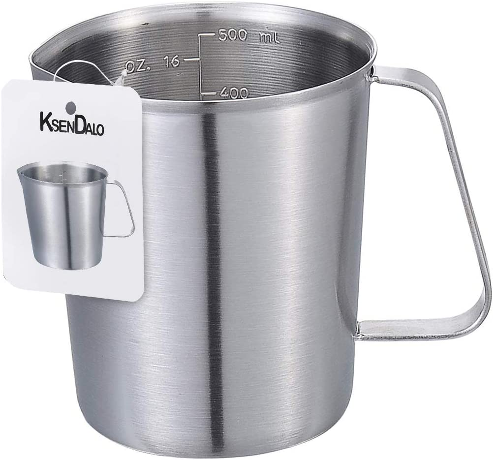 Measuring Cup, KSENDALO Stainless Measuring Pitcher with Marking with Handle, 16 Ounces (0.5 Liter)