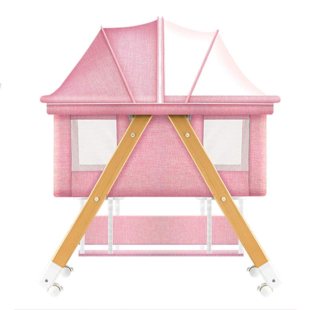 Rocking Chair Baby Splicing Bed Rocking Cradle for Baby Automatic Portable Newborn Baby Multi-Function Appease Shaker Home Infant Recliner with Mosquito Net Bed (Color : Pink) by Baby cradle