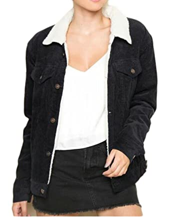 0adf47143c3 KLJR-Women Fashion Lamb Wool Lined Thicken Corduroy Quilted Jacket Coat  Black US XS