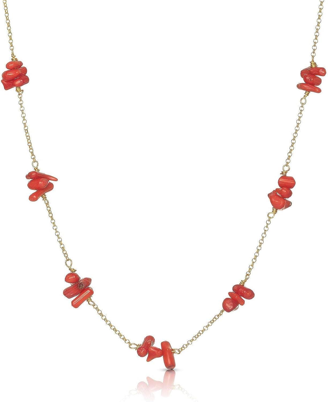 Nanna Folk - Collar Mujer Plata de Ley, Coral Rojo Chapado en Oro 18 Quilates Regalos Originales para Mujer