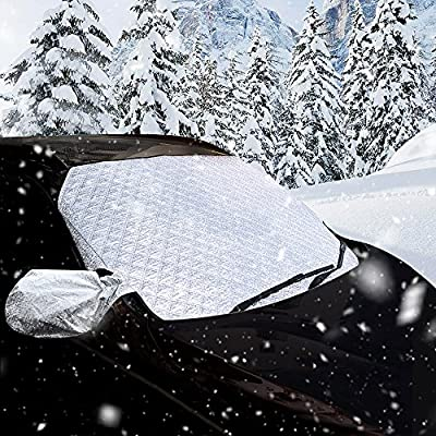 Car Windshield Cover, JVMAC Front and Back Snow Ice Enhanced Version of the Sun Shade Protector Exterior Shield Guard Fits Most Car, SUV, Truck, Van in All Weather with Side Mirror Covers Set