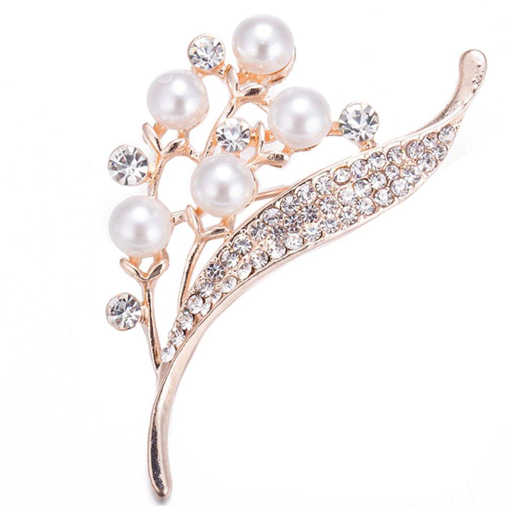 Hosaire Women's Flower Brooch Pin Pearl Diamond Breastpin for Wedding/Banquet/Bouquet