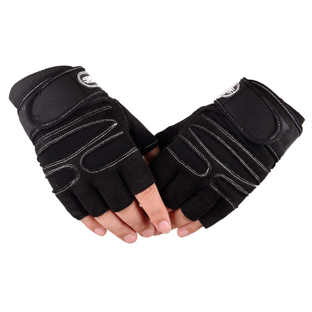 VORCOOL Weight Lifting Gloves Fingerless Gym Workout Gloves for Fitness Bodybuilding Crossfit Breathable Powerlifting Wrist Support Training Exercise Size L (Black)