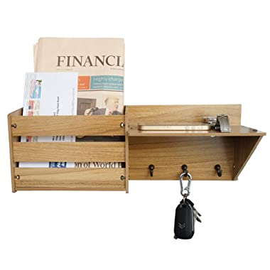 ChasBete Wall Shelf Mail Organizer with 3 Metal Hooks Wall Mounted Rustic Mail Slot for Entryway,Dark Brown