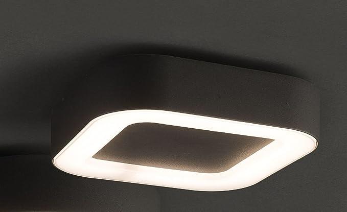 Lámpara LED techo exterior gris oscuro aluminio plástico ...