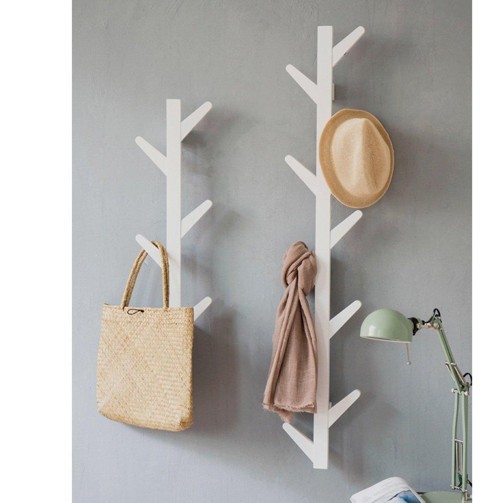 LIANGJUN Wandgarderoben Hut Schal Massivholz Baum Zweige Form Haken Schlafzimmer Wohnzimmer, 3 Farben, 2 Größen Verfügbar (Farbe : Weiß, größe : 2-Piece Set)