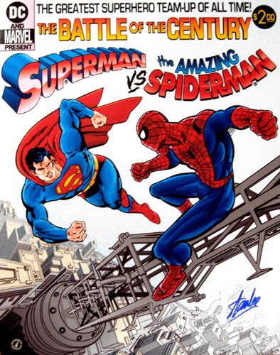 Stan Lee Signed Superman vs Spiderman 16x20 Photo