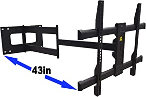 FORGING MOUNT Long Arm TV Mount Full Motion Wall Mount TV Bracket with 43 inch Extension Articulating Arm TV Wall Mount, Fits 42 to 85 Inch Flat/Curve TVs Holds up to 110 lbs,VESA 600x400mm Compatible