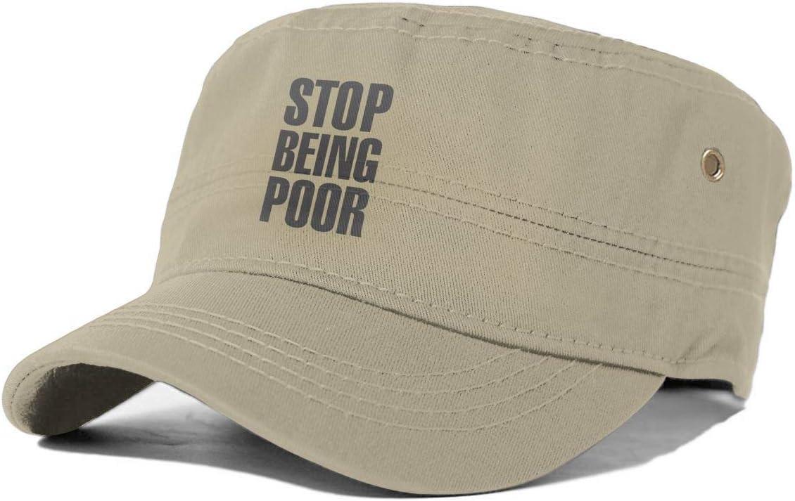 gjhj Stop Being Poor - Gorra de algodón con Parte Superior Plana ...