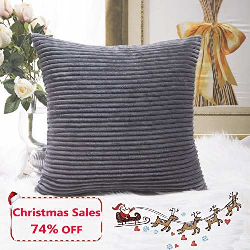 soft decorative pillows. Home Brilliant Decor Soft Decorative Striped Corduroy Velvet Square Throw  Pillow Sofa Cushion Covers for Couch 18x18 inch 45cm Dark Grey Pillows Amazon com