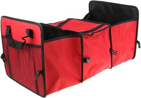 CUTICATE Plegable De 3 Compartimentos Refrigerador De Almacenamiento De Coches Bolsa Organizador Tronco Caja Camping - Rojo: Amazon.es: Deportes y aire libre