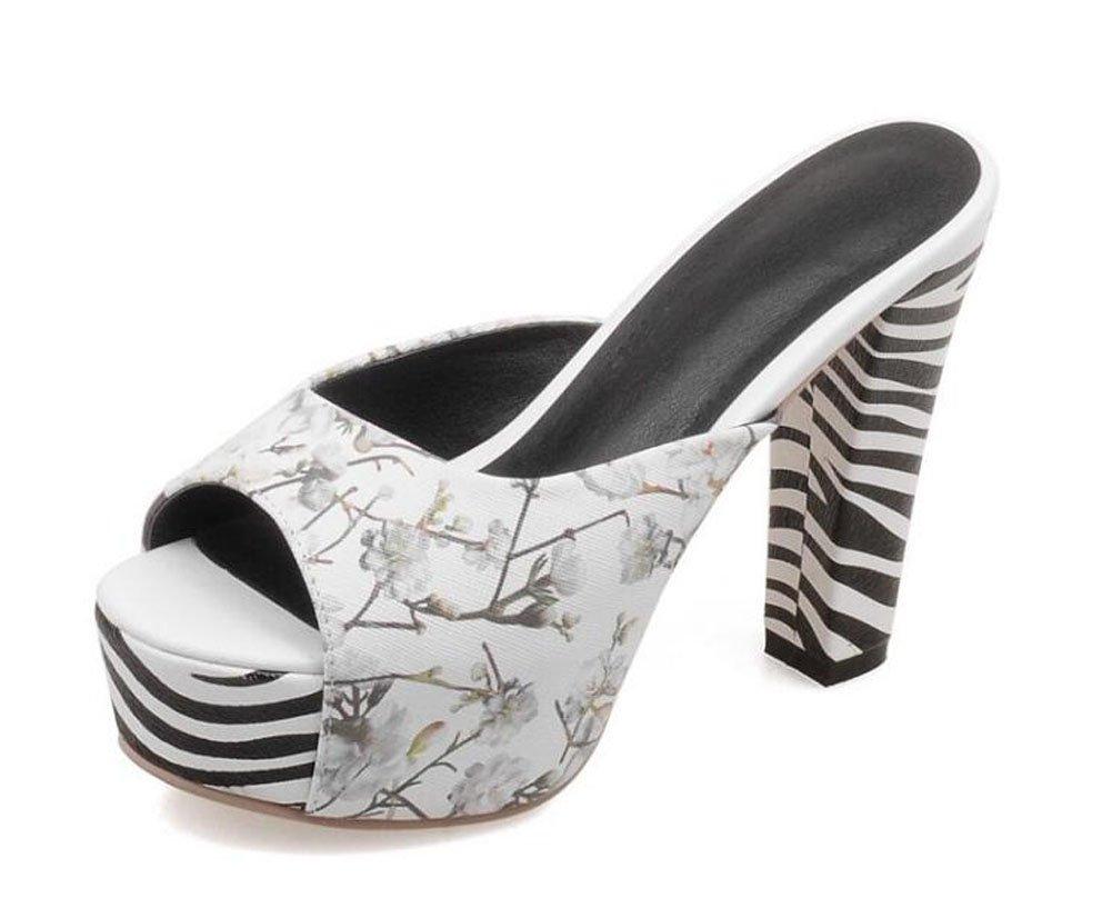 Color : White , Size : 39 Women Peep Toe Pump Summer Elegant Mules Printed Cool Sandals Zebra Stripes High Heel Waterproof Platform Shoes Size 34-43