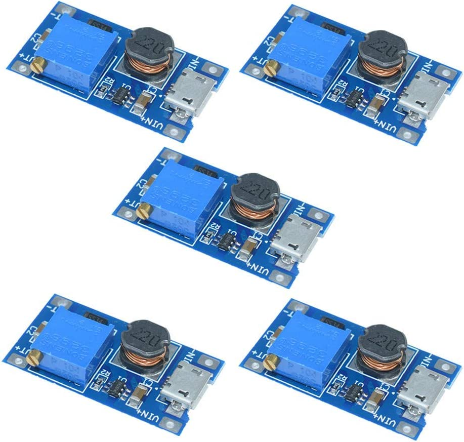 ARCELI 5 PCS MT3608 Micro USB DC-DC Regulador de Voltaje Step Up Boost Convertidor Placa de Fuente de alimentación 2V-24V a 5V-28V 2A