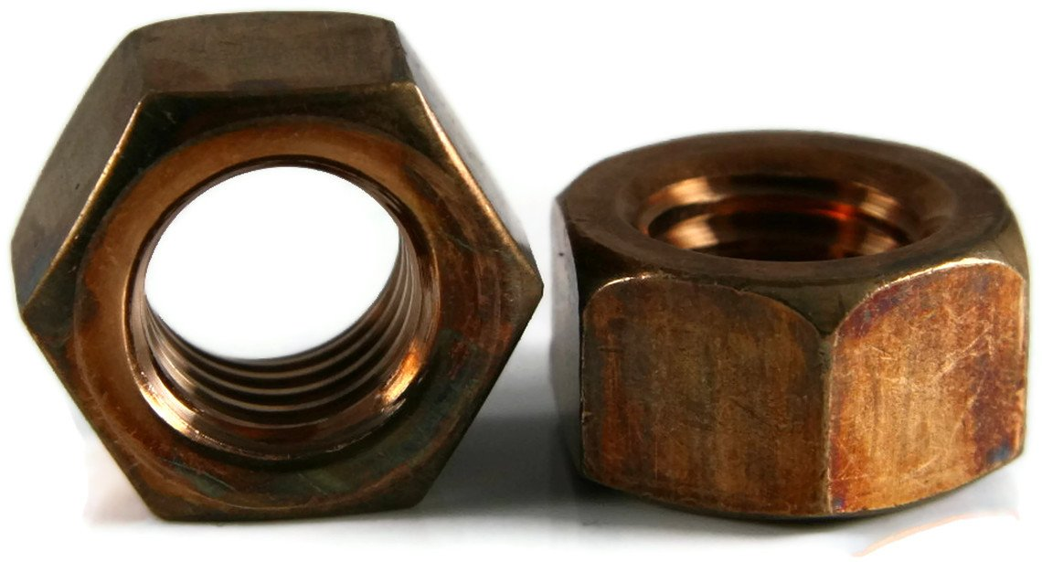 Hex Finish Nuts Silicon Bronze - 3/8''-16 (9/16'' Flats x 21/64'' Thick) Qty-25