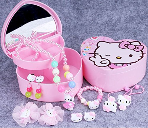 Little Girl Hello Kitty Costume (Cute Heart-shaped Hello Kitty Jewelry Storage Box 2 Layer with Adorable Faux Pearl Girl Hairpin & Accessory 10-piece Set)