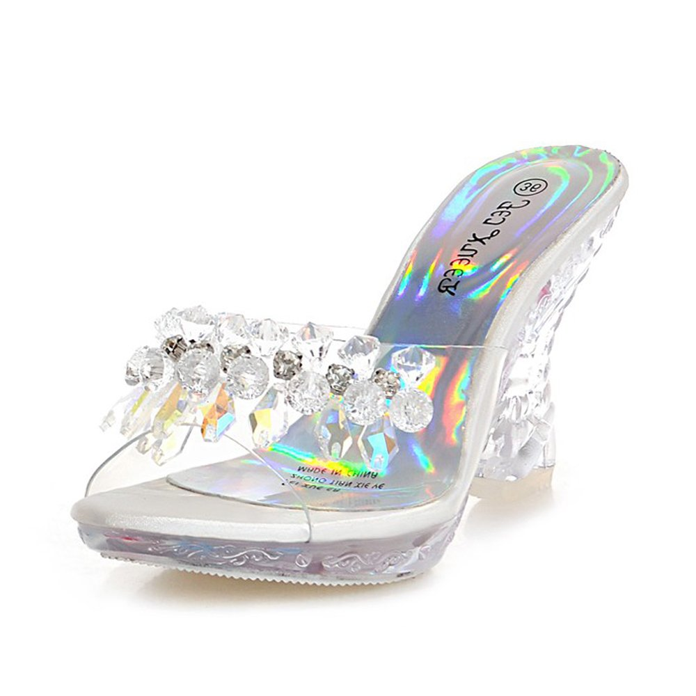 ALBBG Clear High Heels Platform Crystal Sandals Sparkling Diamonds Summer Gold Black For Women's Shoes Girl's (B(M) US6/EU36/UK4/CN36 Medium, Transparent)
