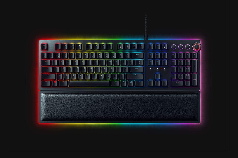 Razer Huntsman Elite USB QWERTY Inglés de EE. UU. Negro - Teclado (Alámbrico, USB, Opto-mechanical key switch, QWERTY, LED RGB, Negro)