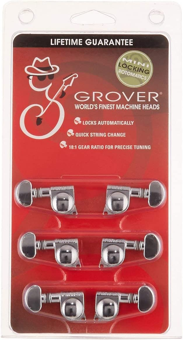 Bundled with Dunlop Pick Pack Chrome Grover 406C Mini Locking Rotomatic Tuners
