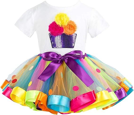 Niñas Camiseta y Falda Tutú 2 Piezas Bebé T-Shirt de Algodón ...