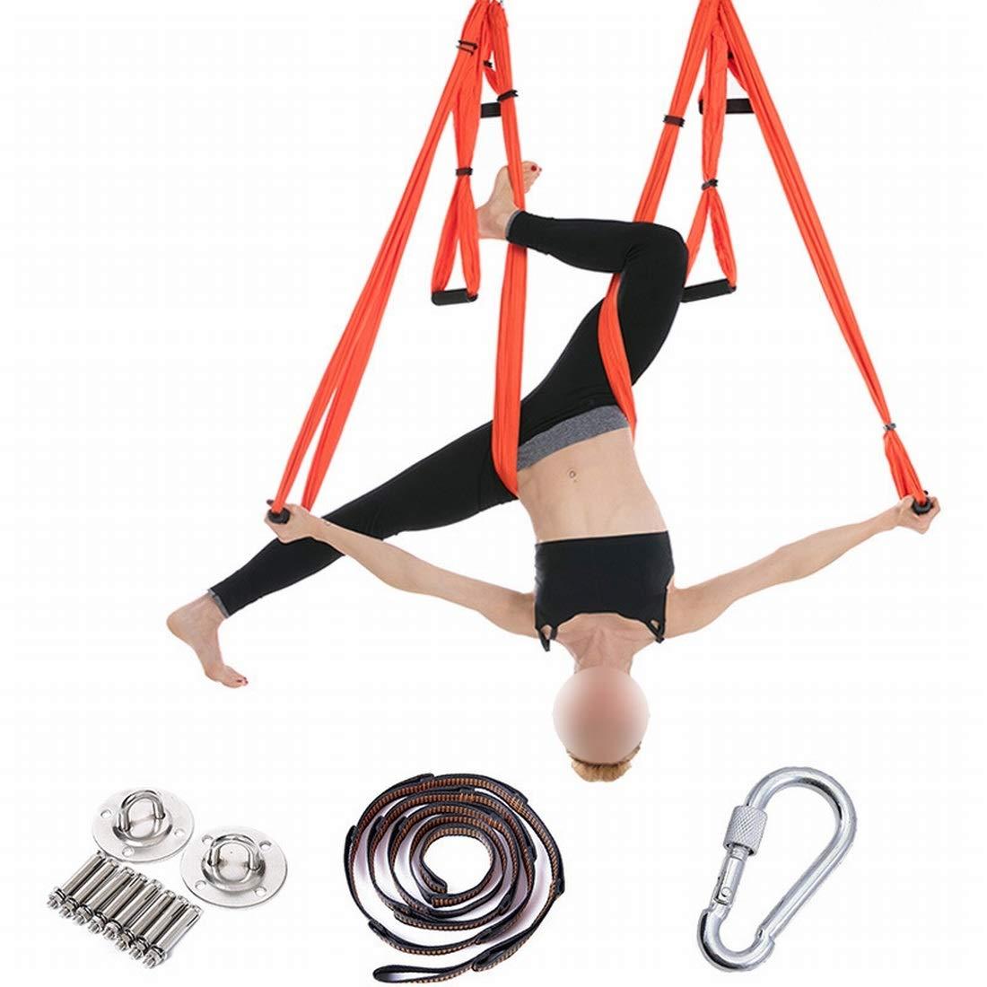 Orange SHIZHESHOP Accessoires de Yoga pour hamac aériens pour l'intérieur et l'extérieur, balançoire de Remise en Forme sans étirement, Ensemble Complet avec Plaque de Suspension en Acier Inoxydable