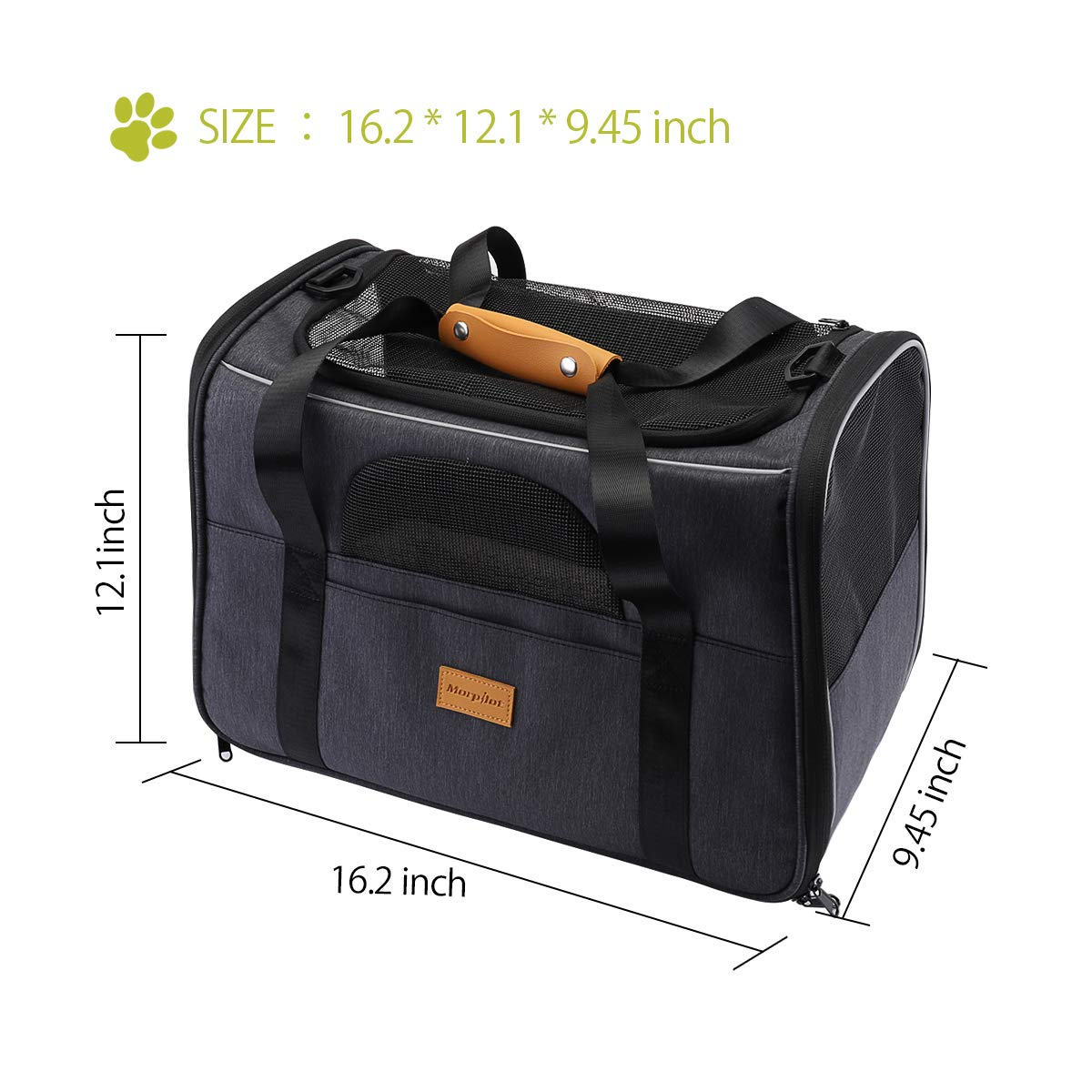 morpilot Pet Carrier Bag, Portable Breathable Transport Bag for Dogs and Cats, Folding Travel Pet Carrier with Adjustable Shoulder Strap and with a Foldable Bowl as a Gift