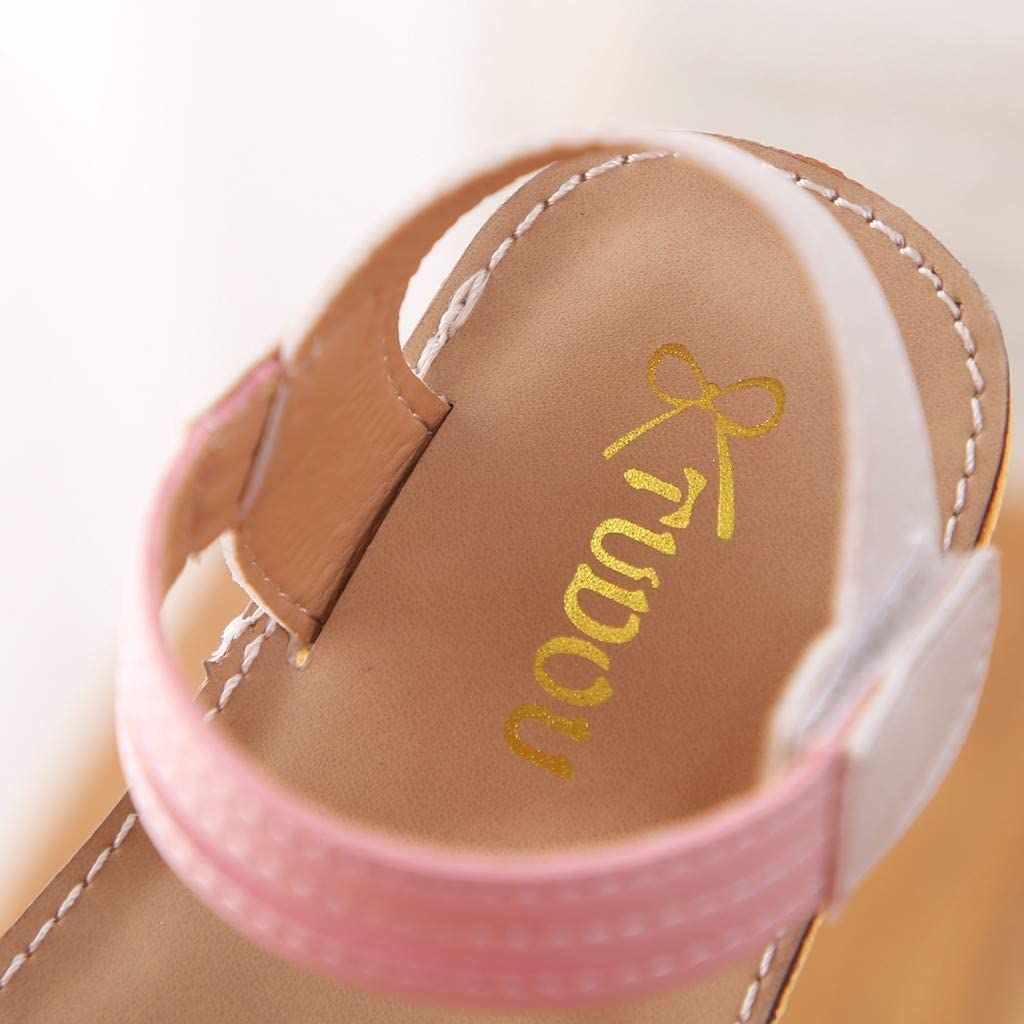 ❤️Rolayllove❤️ Girls Flower Flat Sandals Cute Summer Open Toe Ankle Strap Dress Party Princess Sandals for Kids