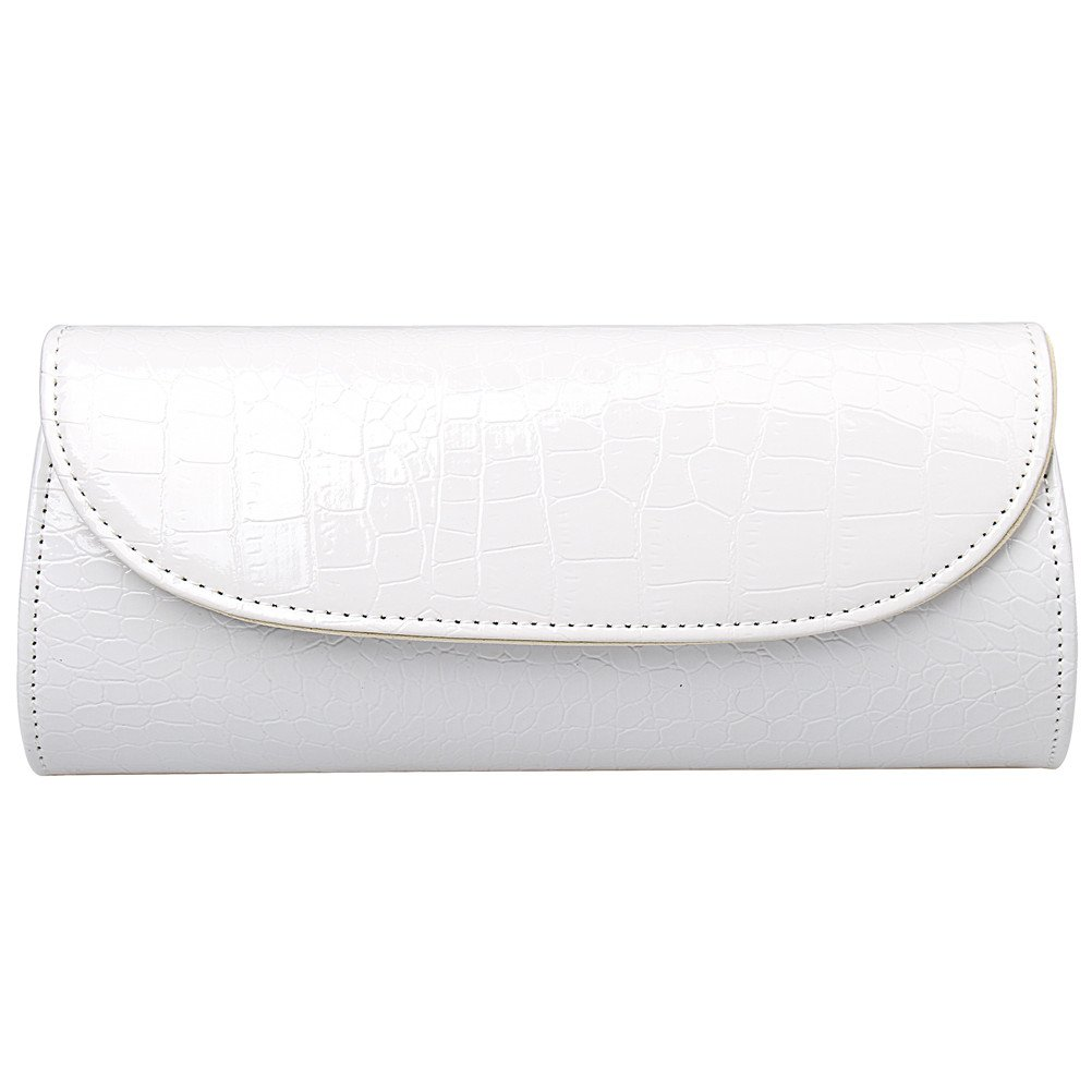 Fashion Road Evening Clutch, Croc Skin Embossed Clutch Purses for Women, Handbags for Party and Wedding White