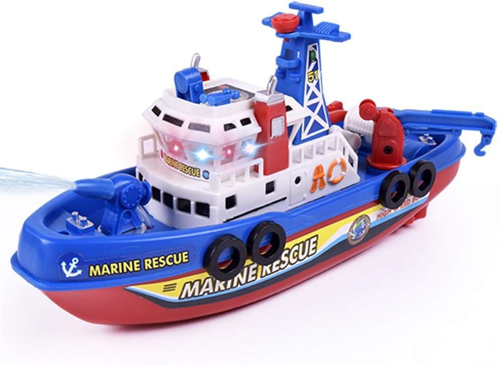 PoeHXtyy Rescate eléctrico Barco de Fuego de Juguete de Agua de Aerosol Modelo de Barco con luz de Sonido Flash Piscina baño Juguete