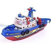 Neinei Kinder-Elektro-Modell Spielzeug mit Leichtem und Schall Feuer Boot Wasserstrahl Marine Kriegsschiff
