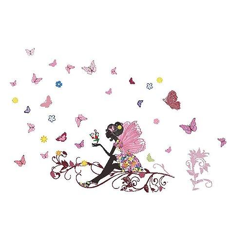 Oyedens Neue Schmetterlings Blumen Fee Schlafzimmer Wohnzimmer Wand Aufkleber