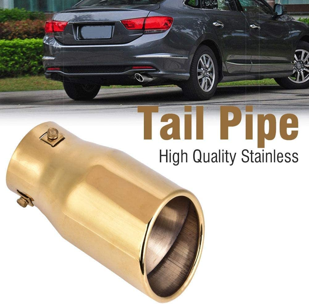 Bevel Cuque Car Modification 75mm Exhaust Muffler Rear Pipe End Tip Exhauster Cover Protector Trim Stainless Steel Round Rear Tailpipe for Toyota Prado 2010-2017 Toyota REIZ Camry Patrol