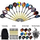 Tip Dart Set-12Pcs Steel Dart Rods, 30 Dart Flights, 100pcs Plastic Needle Tips with Carry Bag