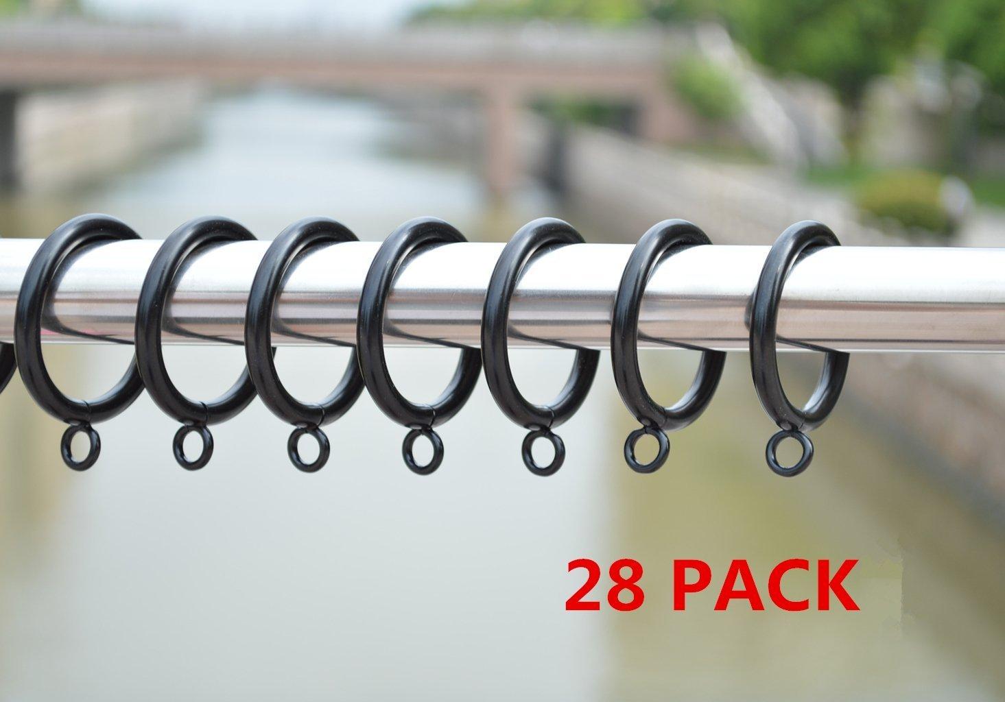 Jocon HD6038Q Pack of 28 Drapery Curtain Rings, Eyelet Rings, 1.5 Inch Inner Diameter (28, Black)