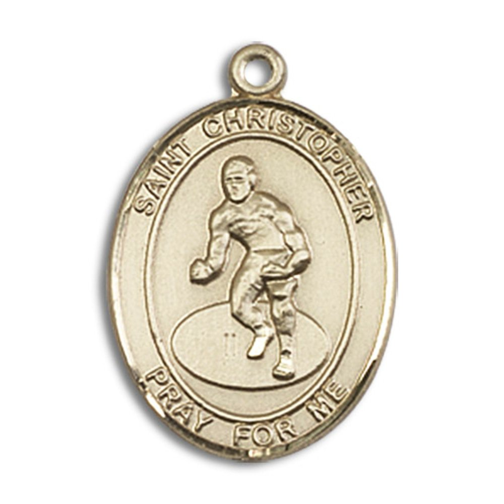 Custom Engraved 14kt Yellow Gold St. Christopher/Wrestling Medal 3/4 x 1/2 inches