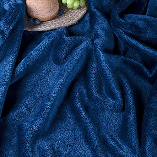 Fleece Soft Blankets Throw for Couch and Bed, ALEEN & AJEAN 50x60-Navy Throw Size Lightweight Fuzzy Super Soft Flannel Blanket Microfiber Blanket Cozy Luxury Blanket for Couch, Bed, Camping, Travel