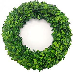 LMflorals Preserved Boxwood Wreath Decor 14 inch, Nature Real Handcrafted Boxwood Round Wreath Green Garland for Indoor Farmhouse Decorations Wreath Wall Window Home Décor (14 inch)