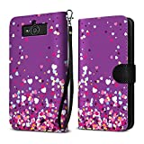 Motorola Droid Mini XT1030 Case, FINCIBO Ultra Slim Protective Carry Flip Canvas Wallet Pouch Case with Credit Card Holder TPU Cover, Purple Falling Hearts