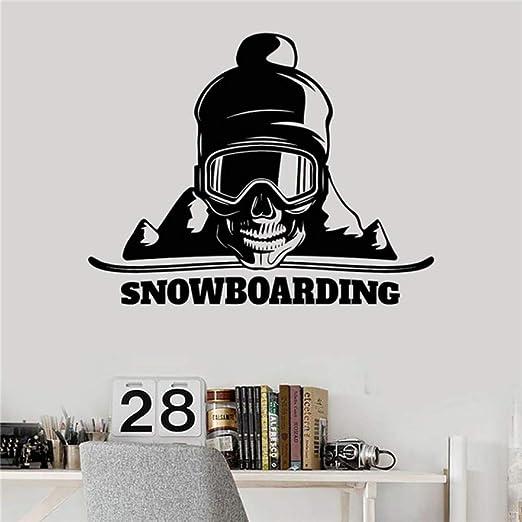 LovelyHomeWJ Vinilo Tatuajes de Pared Snowboard Calavera Deporte ...