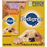 Pedigree Chopped Ground Dinner Hearty Chicken Beef, Bacon & Cheese Flavors Adult Wet Dog Food Variety Pack, (8) 3.5 oz. Pouches