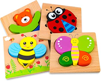SKYFIED Wooden Animal Puzzles Toy