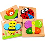 SKYFIELD Wooden Animal Puzzles for Toddlers 1 2 3 Years Old, Boys & Girls Educational Toys Gift with 4 Animals Patterns, Brig